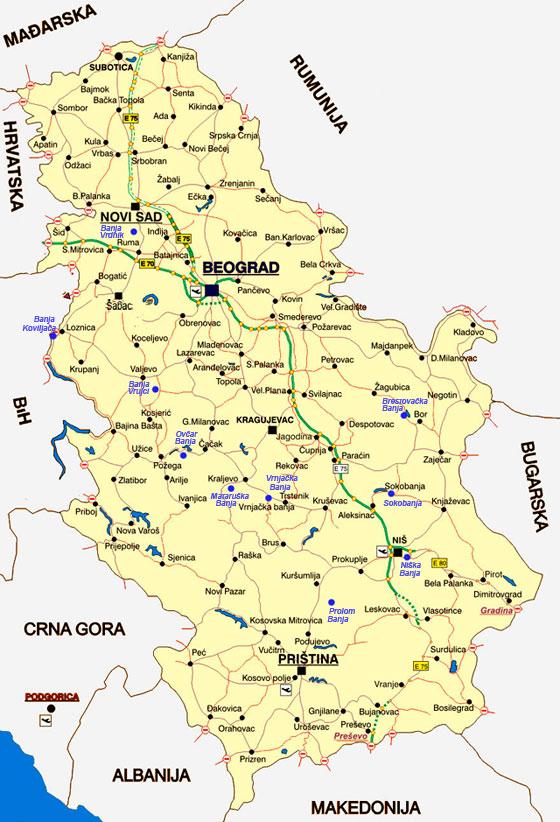 Mapa Banja Srbije