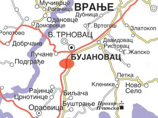 Bujanovačka Banja mapa